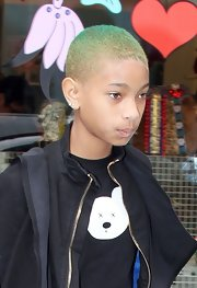 Willow showed off her edgy style with this buzzed cut, which she dyed a cool ombre green.