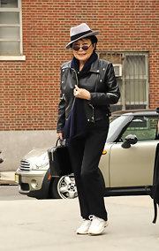 Yoko Ono sported a black leather jacket for her daytime look while out in NYC.