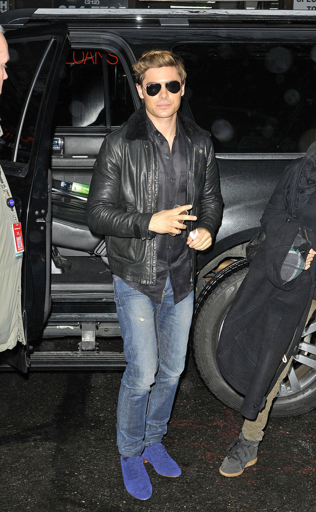 Zac Efron Leather Jacket Zac Efron Looks Stylebistro