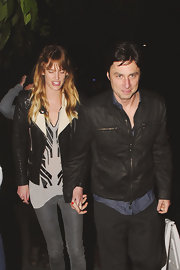 Zach Braff opted for a casual but cool leather jacket while out in LA with his girlfriend.