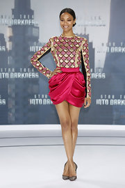 Zoe Saldana chose a sleek pink-and-gold embroidered leather top for her cool and contemporary look at the 'Star Trek Into Darkness' premiere.