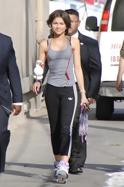 Zendaya Coleman looked ready for a workout as she headed to 'Jimmy Kimmel Live' wearing a gray tank.