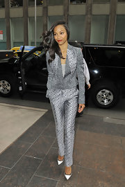 Zoe's gray delicate floral-print suit blended masculine suit structure with feminine sophisticated.