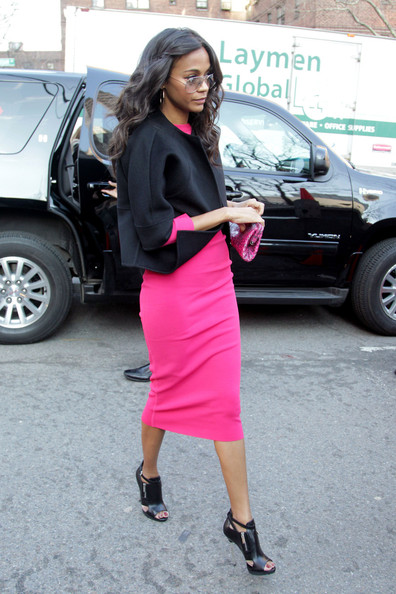 More Pics of Zoe Saldana Cropped Jacket (1 of 5) - Cropped Jacket Lookbook - StyleBistro