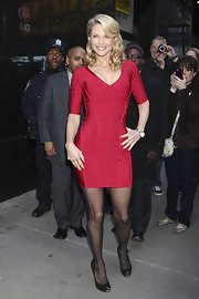Christie showed off her fierce figure in a red hot bandage dress at the Good Morning America Studios.