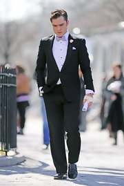 Ed Westwick rocked a sleek tuxedo on the set of 'Gossip Girl.'