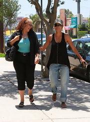 Halle loves worn-in boyfriend jeans like this pair she cuffed for errands in Burbank.