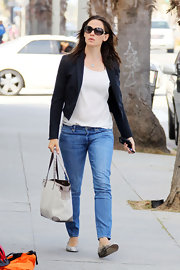 Jennifer wore classic jeans with her blazer while out in Santa Monica to meet friends.