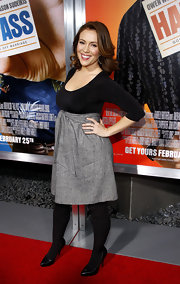 Alyssa was glowing at the premiere of 'Hall Pass' in a sweet gray and black dress.