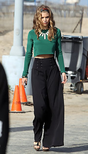 AnnaLynne McCord showed off her lean abs in a cropped emerald top.