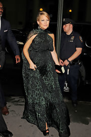 Kate Hudson was glowing in a green leopard print evening dress for the Hawn Foundation event in New York City.