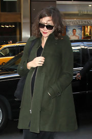 Maggie Gyllenhall stepped out for errands in this forest green swing jacket.