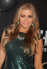 Carmen Electra celebrated her 40th birthday in Las Vegas wearing a Nile Nymph necklace with blue chalcedony.