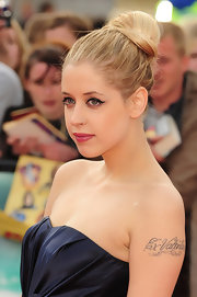 Peaches Geldof sported a classic and elegant bun at the 'Harry Potter' premiere which she paired with a perfect pink pout.