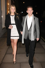 Holly Valance added shine to her look with gilded platform pumps.