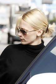 January Jones wore her hair in a casual ponytail while out in Los Angeles.