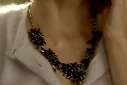 Jaime King Black Statement Necklace