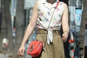 Lily Collins Chain Strap Bag