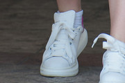 Elle Fanning Leather Sneakers