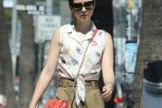 Lily Collins Print Blouse