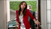 A red blazer livened up Ashley Madekwe's neutral day dress.