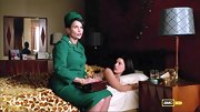 Julia Ormond was very Jackie Kennedy on 'Mad Men' in this green wool suit, complete with a  matching hat.