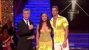 Hello, belly button. Cheryl Burke gave the 'DWTS' audience a glimpse of skin through a sheer yellow beaded dress.