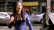 A purple leather jacket made Naya Rivera stand out on 'Glee.'