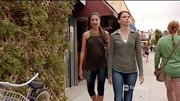 Sutton Foster kept things casual on 'Bunheads' in an olive collared sweater layered over a white tank.
