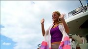 Emily Maynard's pink and purple scarf is exactly the sort of thing Barbie would pack for an island vacation.
