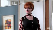 Christina Hendrick chose a red and white houndstooth dress with a matching neck scarf for her look on 'Mad Men.'