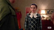 Kiernan Shipka chose a green and blue plaid dress with a white bow collar for her look on 'Mad Men.'