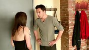 Jake Johnson wore this classic henley in an muted shade of olive green.