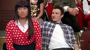 Jenna Ushkowitz took a turn for the adorkable in this red-and-white heart print cardigan.
