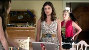 A studded leather belt gave Lucy Hale's clock print dress an edge on 'Pretty Little Liars.'