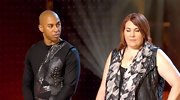 Edmond Newton's black top was embellished with leather, rhinestones, and gun metal.  On a fashion reality show, it works!