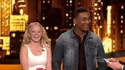 Joshua Ledet proves the versatility of a jean jacket, wearing his with a brown henley.