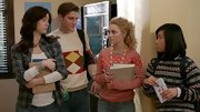AnnaSophia Robb's pink polka dot and stripe top was casual but feminine in 'The Carrie Diaries.'
