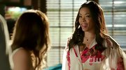 Golden Brooks made her return to Dixie in a romantic floral print blouse with chiffon sleeves.