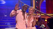 Donald Driver matched his dance partner in this true pink button-up shirt.