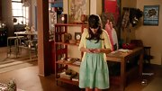 Zooey Deschanel chose a sea foam green dress and pastel yellow cardigan for her look on 'New Girl.'