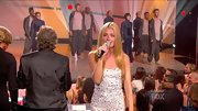 Did Cat Deeley ever meet a sparkly dress she didn't like? The leggy hostess shone on TV in this white bedazzled number.
