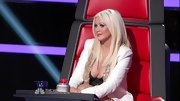 Christina Aguilera left little to the imagination on 'The Voice' in this bedazzled white blazer.