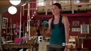 A teal tank adds subtle flair to Sutton Foster's dance studio attire on 'Bunheads.'