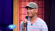 To add a little something extra to his striped T-shirt, Joshua Ledet threw on an olive military cap.