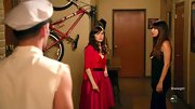 Zooey Deschanel looked super fun and flirty in this red and pink A-line dress, which she wore on 'New Girl.'