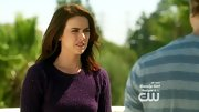 Jessica Stroup kept things simple on '90210' in this ribbed eggplant sweater.