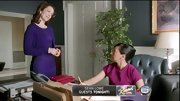 Bellamy Young chose this purple shift dress with matching cardigan for her put-together First Lady-look on 'Scandal.'
