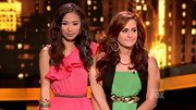 A skinny brown belt helped prevent Jessica Sanchez's ruffled pink top from overwhelming her slight frame.