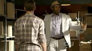 Cress Williams looked country club bound in a lavender plaid button-up and khaki suit.